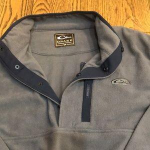 Drake Fleece Pullover Grey Snap Half Zip XL